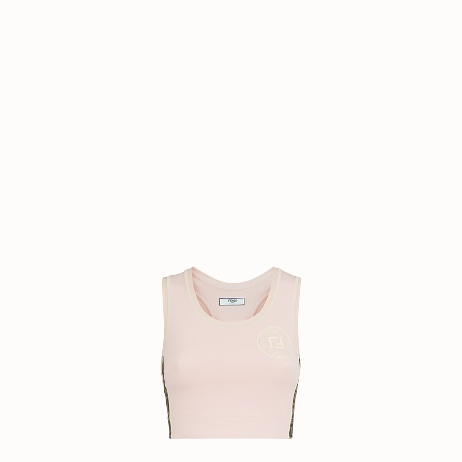 FENDI SPORTS TOP - Pink fabric fitness knit - view 1 detail