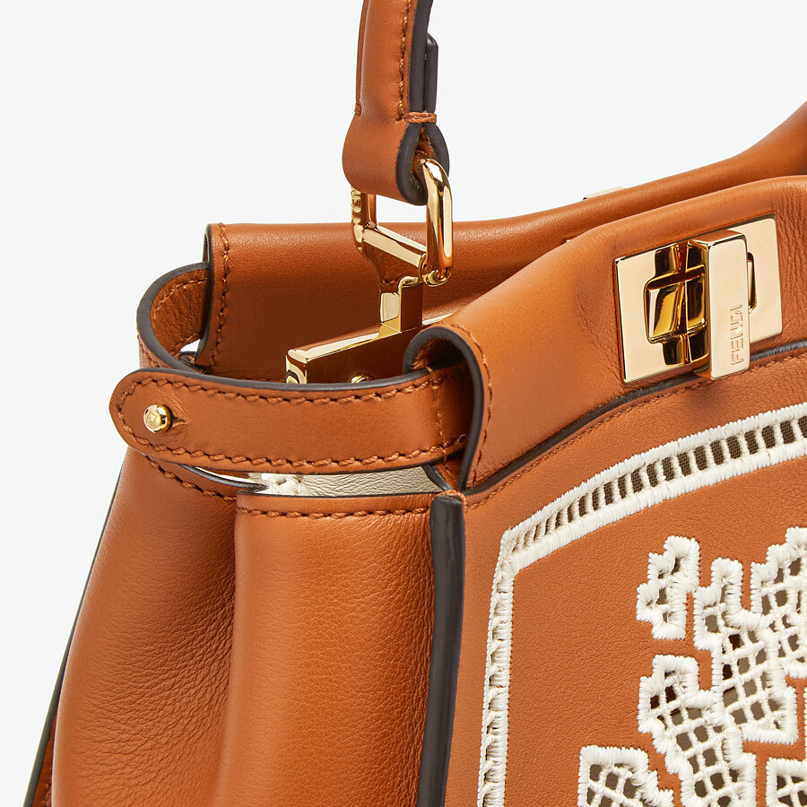 FENDI PEEKABOO ICONIC MINI - Embroidered brown leather bag - view 6 detail