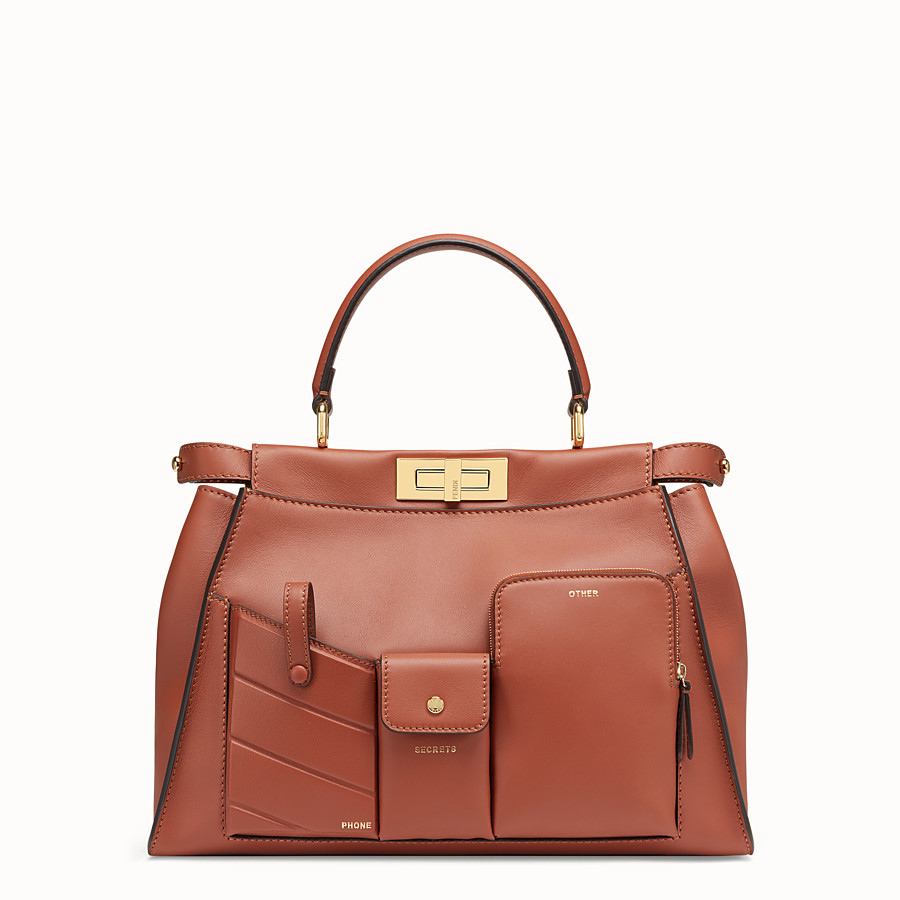 FENDI PEEKABOO REGULAR POCKET - Brown leather bag - view 2 detail