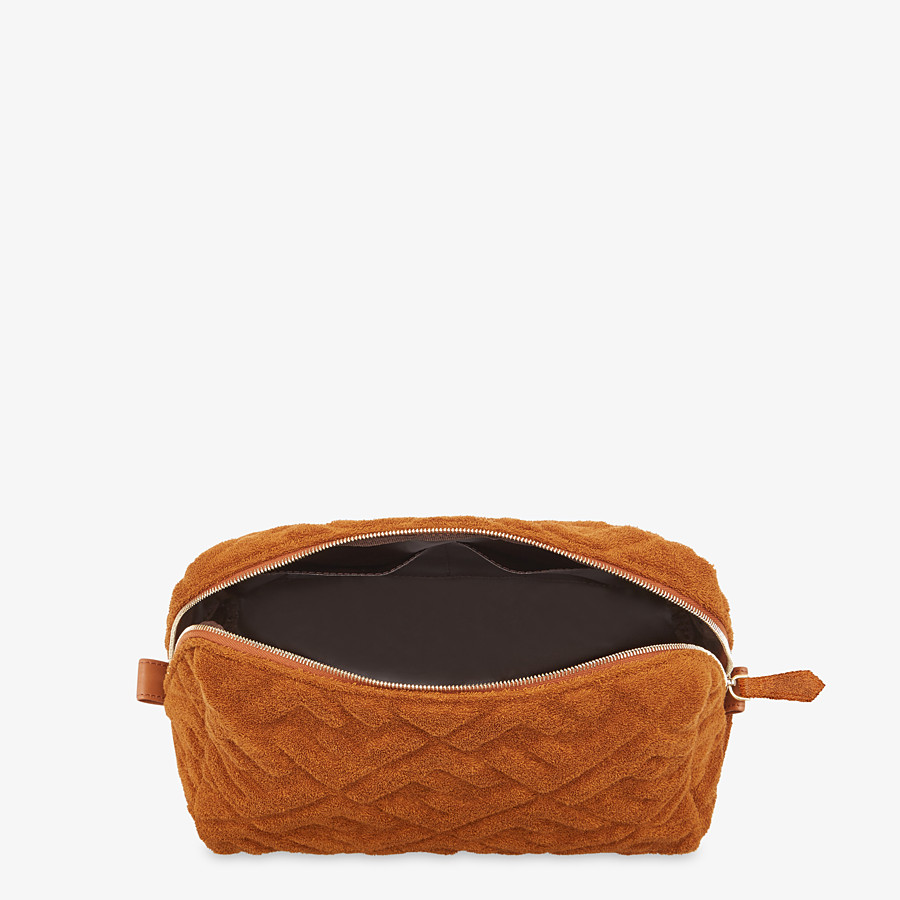 FENDI MEDIUM BEAUTY POUCH - Brown terrycloth toiletry case - view 3 detail