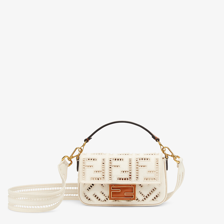FENDI BAGUETTE MINI - White canvas bag with embroidery - view 1 detail