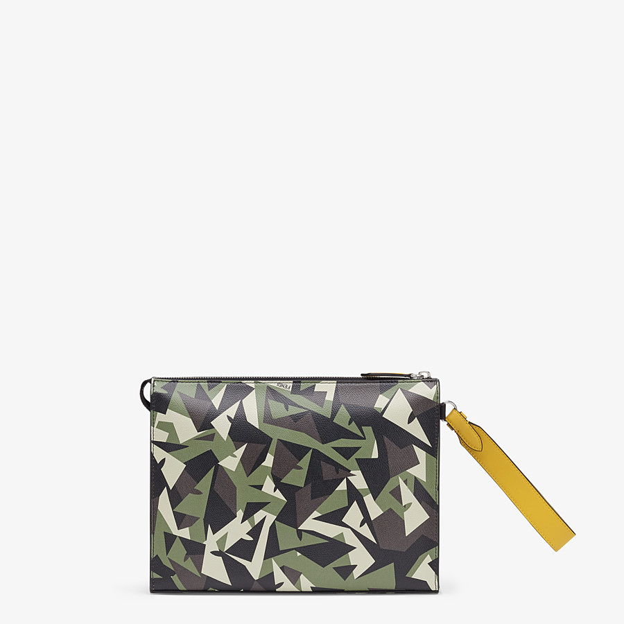 FENDI FLAT POUCH - Green leather pouch - view 3 detail