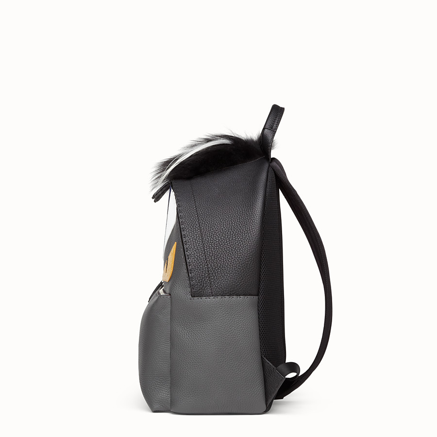 FENDI BACKPACK - in black and grey Roman leather - view 2 detail