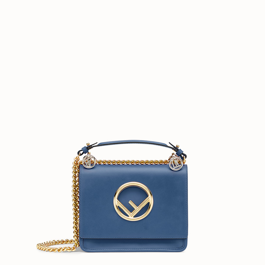 FENDI KAN I F SMALL - Dark blue leather mini-bag - view 1 detail