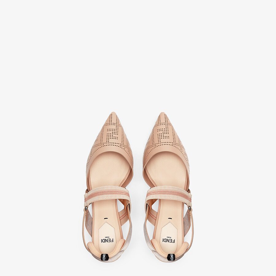 FENDI SLINGBACKS - Pink leather Colibrì slingbacks - view 4 detail