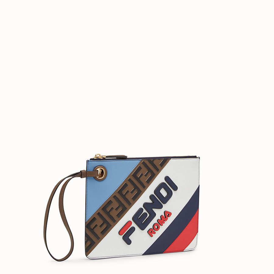 FENDI SMALL TRIPLETTE CLUTCH - Multicolour leather clutch - view 2 detail