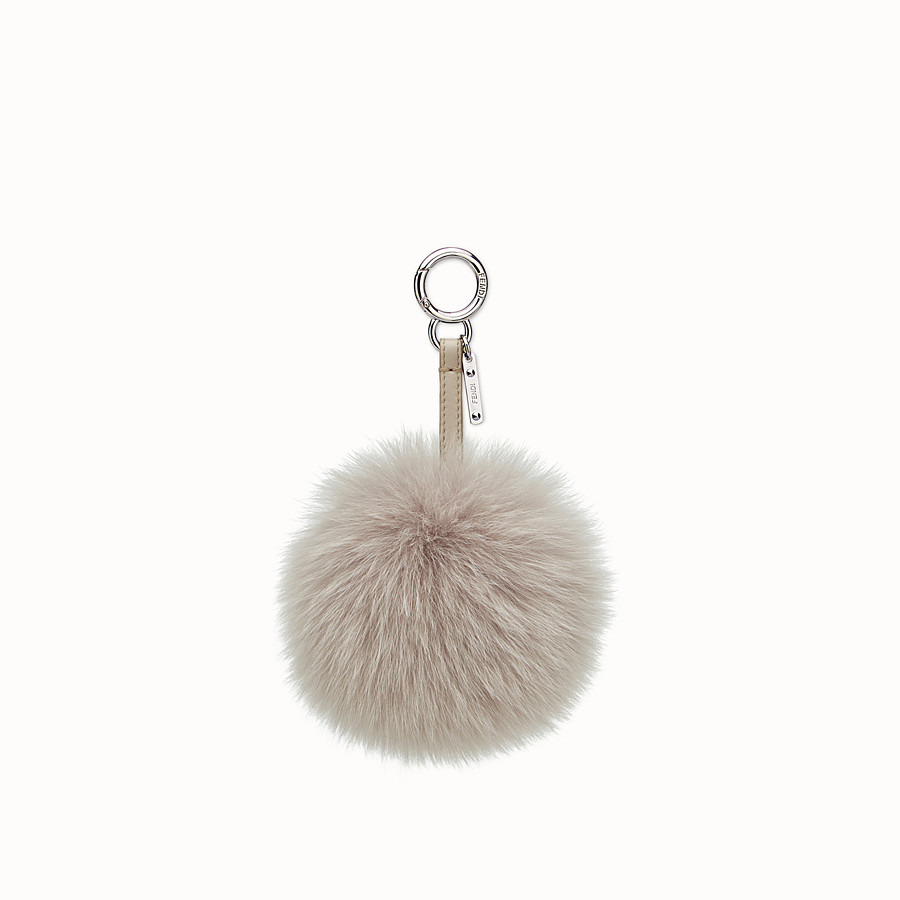 FENDI POMPOM CHARM - Charm in pearl-grey fur - view 1 detail