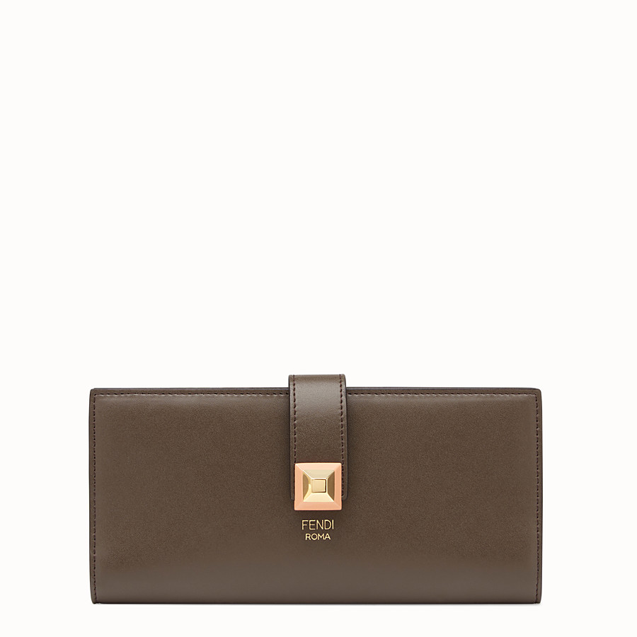 FENDI WALLET - Continental wallet in chocolate-coloured leather - view 1 detail