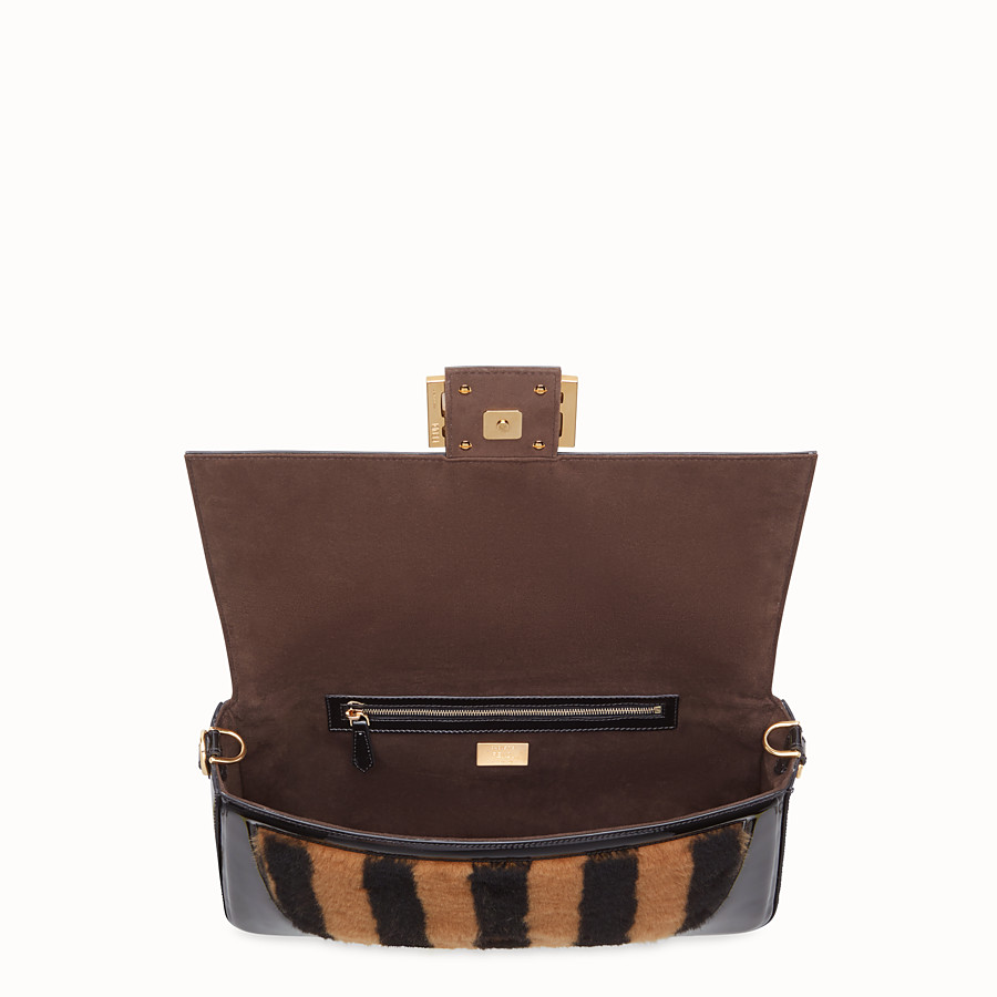 FENDI BAGUETTE LARGE - Multicolor, patent leather and sheepskin bag - view 5 detail