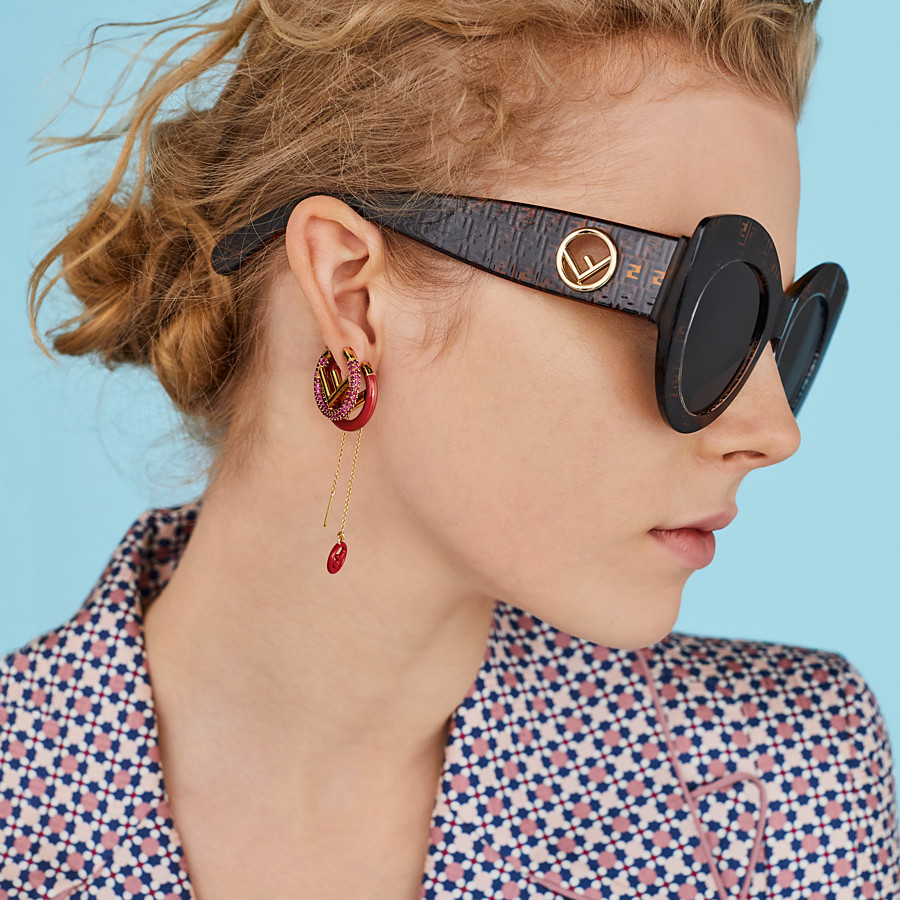 FENDI F IS FENDI EARRINGS - Gold and red colored earring - view 2 detail