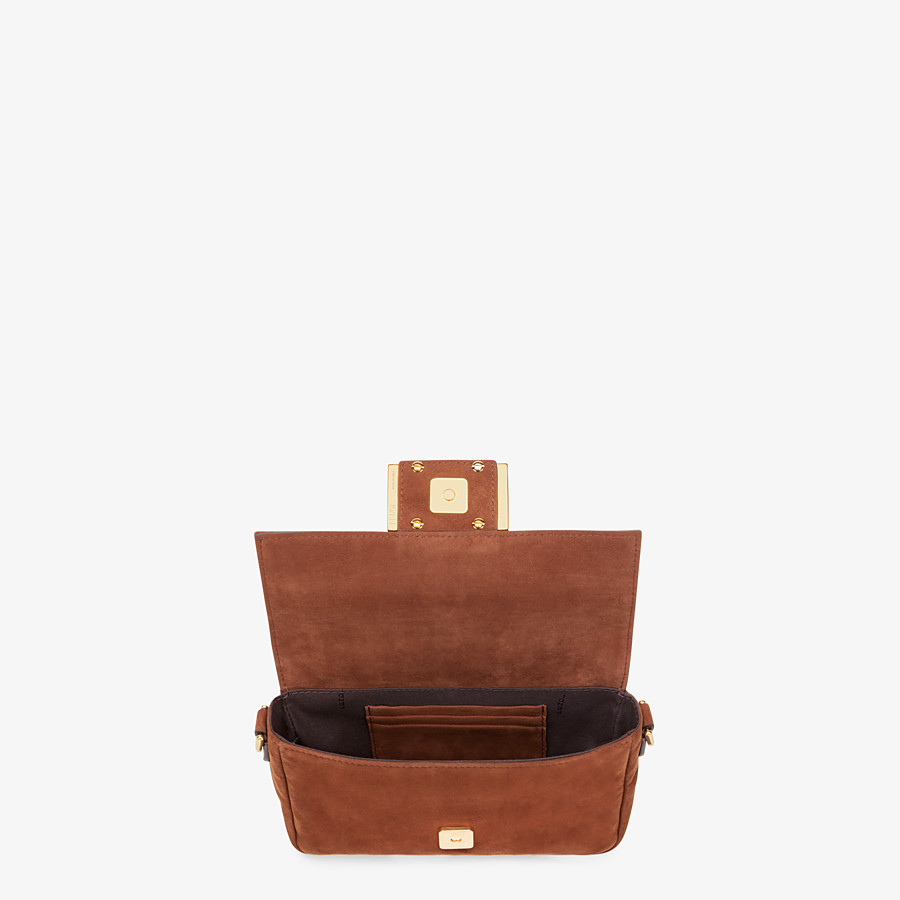 FENDI MINI BAGUETTE - Brown suede bag - view 4 detail