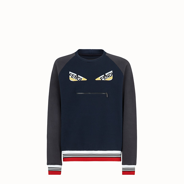 FENDI SWEATSHIRT - Blue cotton jersey sweatshirt. - view 1 small thumbnail