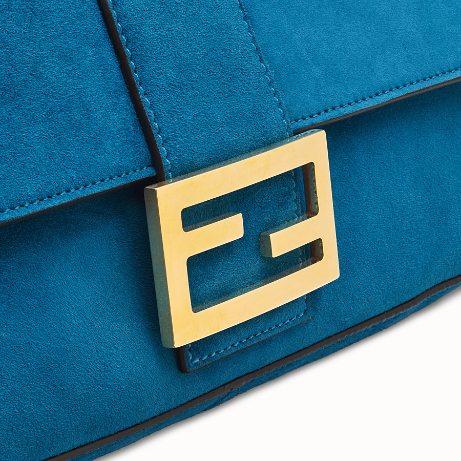 FENDI BAGUETTE LARGE - Light blue suede bag - view 6 detail