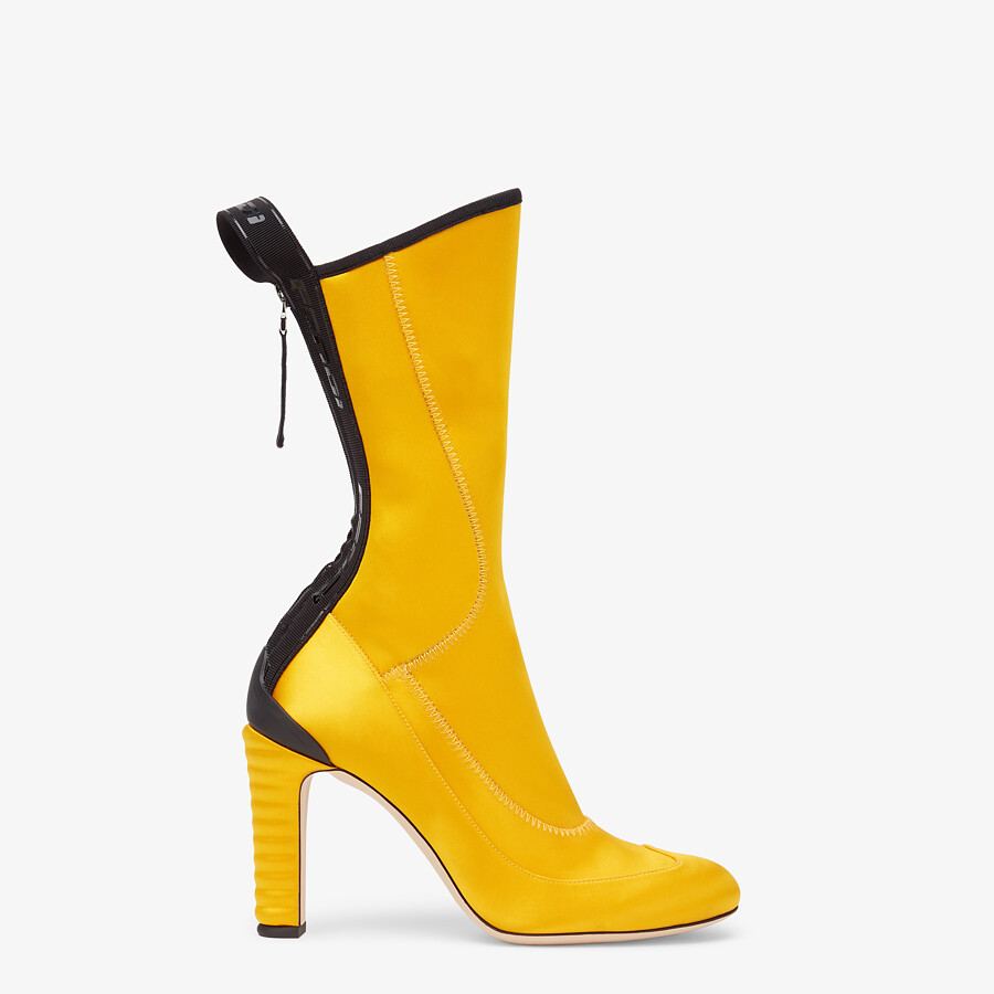 FENDI ANKLE BOOTS - Promenade Booties in yellow tech satin - view 1 detail