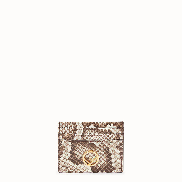 FENDI CARD HOLDER - Beige leather flat card holder with exotic details - view 1 small thumbnail