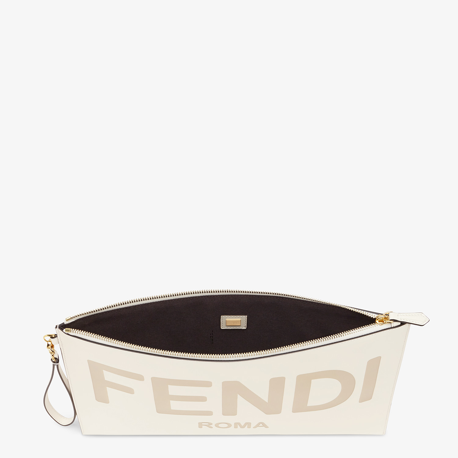 FENDI LARGE FLAT POUCH - White leather pouch - view 4 detail