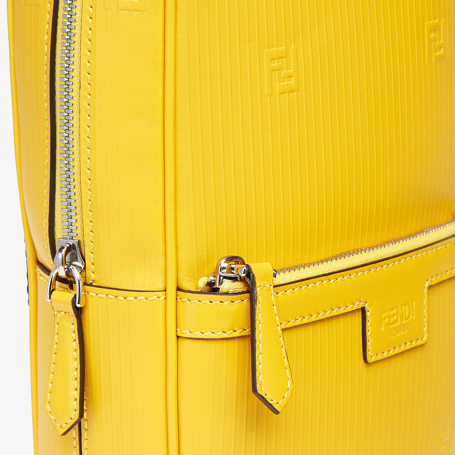 FENDI ONE-SHOULDER TRAVEL BACKPACK - Yellow leather backpack - view 4 detail