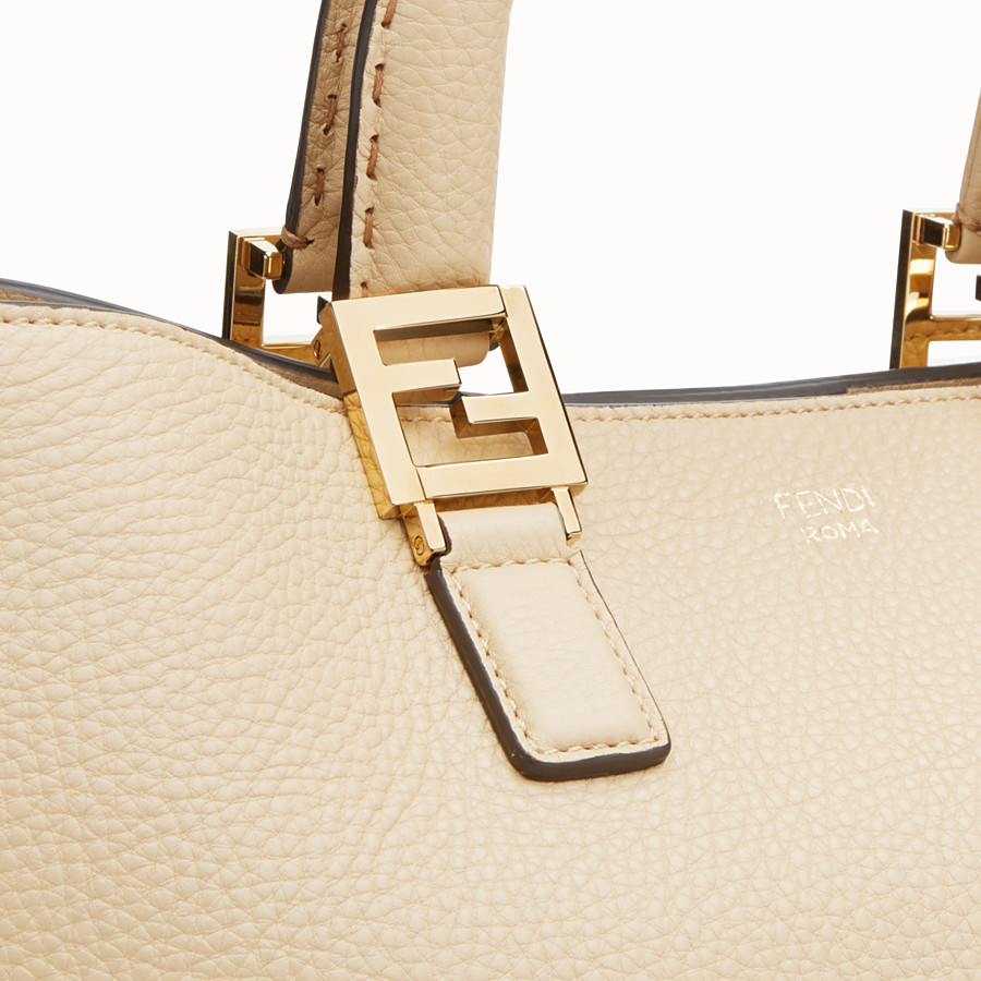 FENDI FF TOTE MEDIUM - Beige leather bag - view 5 detail