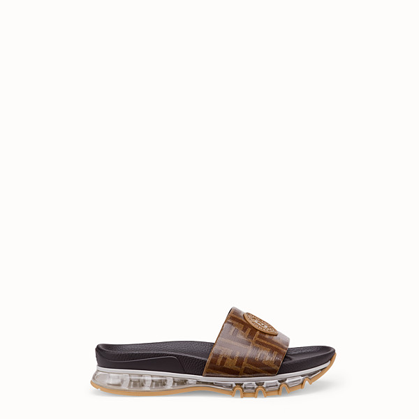 FENDI SANDALS - Black TPU and leather slides - view 1 small thumbnail