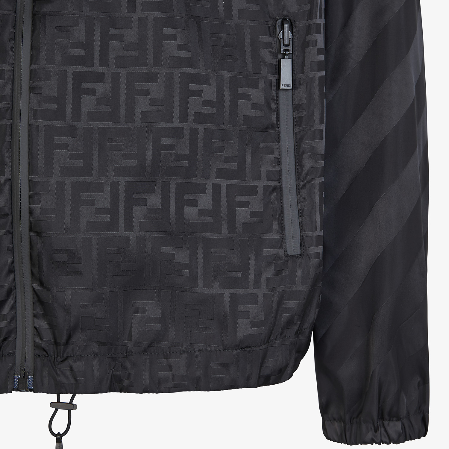 FENDI WINDBREAKER - Black nylon jacket - view 3 detail