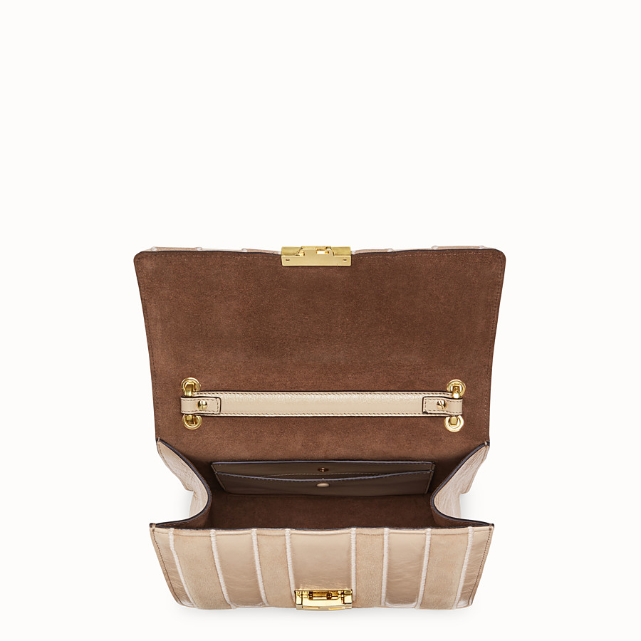 FENDI KAN U - Beige suede and leather bag - view 4 detail