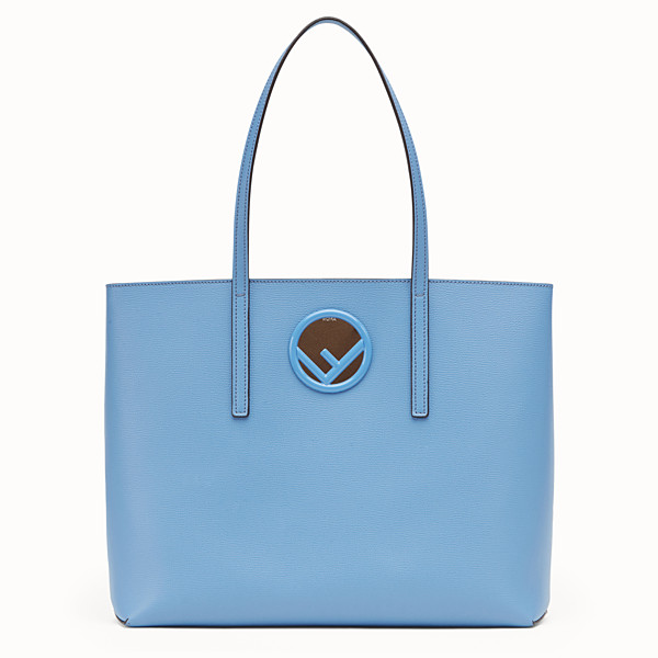 FENDI SHOPPING LOGO - Light blue leather shopper bag - view 1 small thumbnail