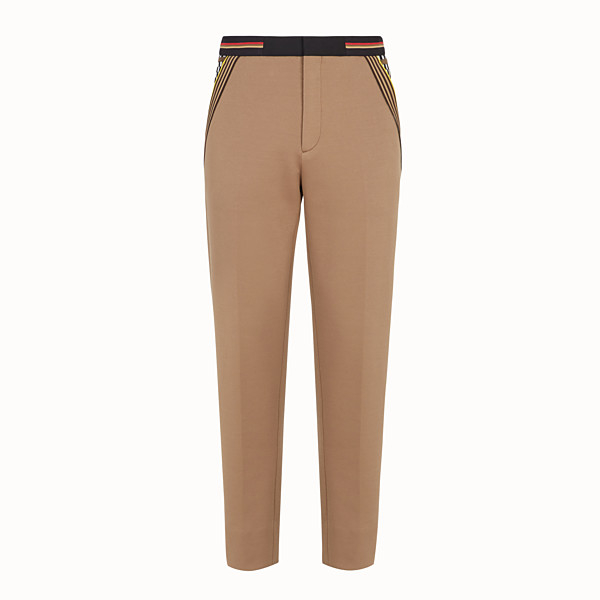 FENDI TROUSERS - Beige jersey trousers - view 1 small thumbnail