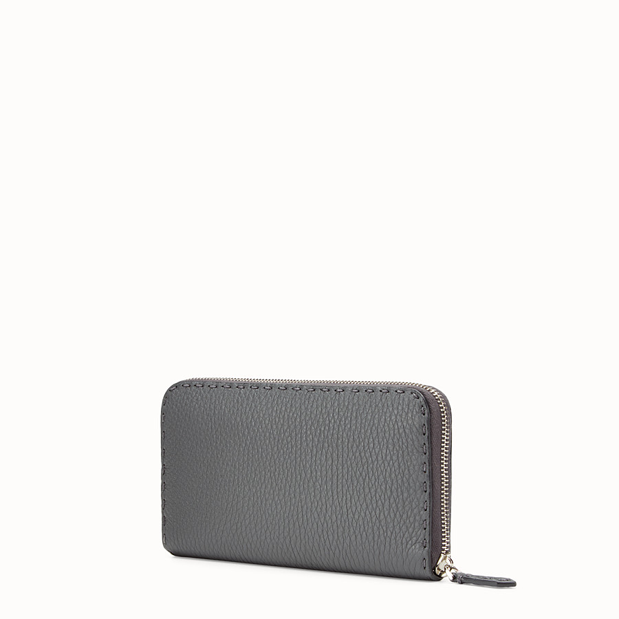 FENDI ZIP-AROUND - Slender wallet in grey Roman leather - view 2 detail