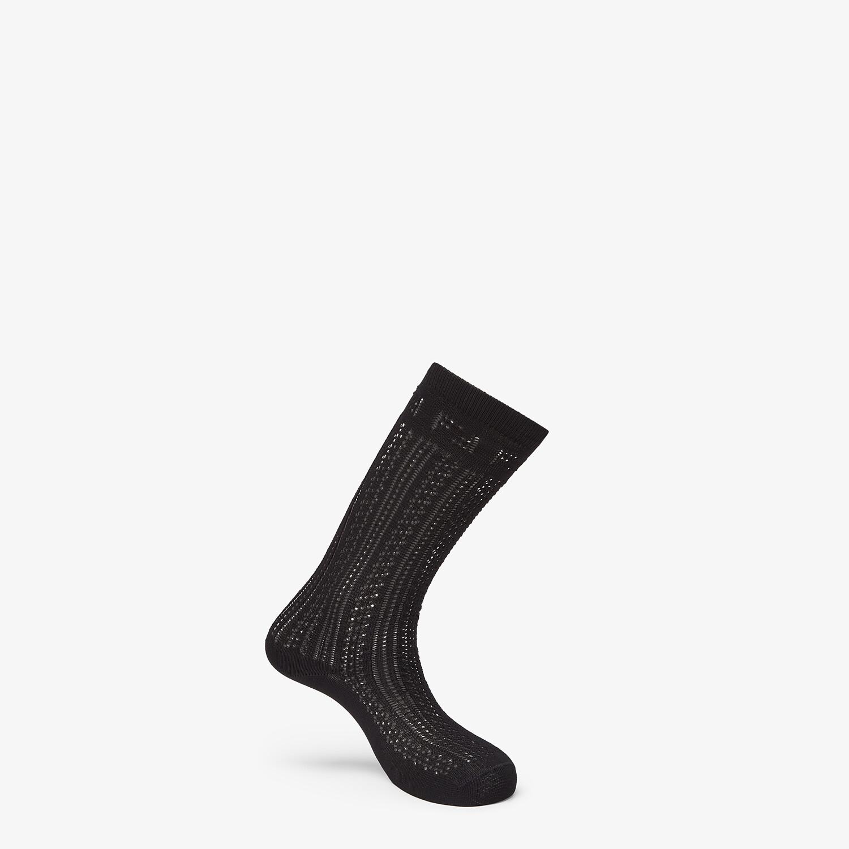 FENDI SOCKS - Black cotton socks - view 1 detail
