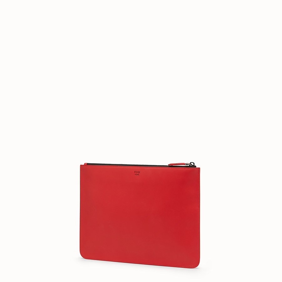 FENDI POUCH - Red leather slim pouch - view 2 detail