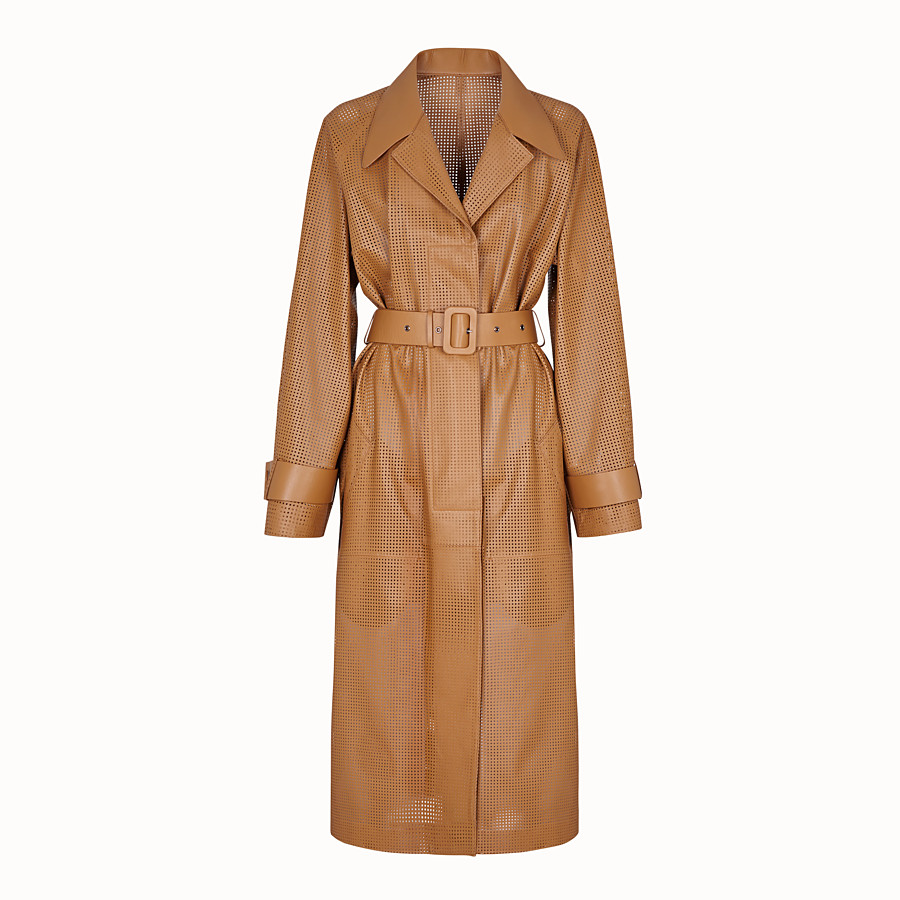 FENDI OVERCOAT - Brown leather trench coat - view 1 detail