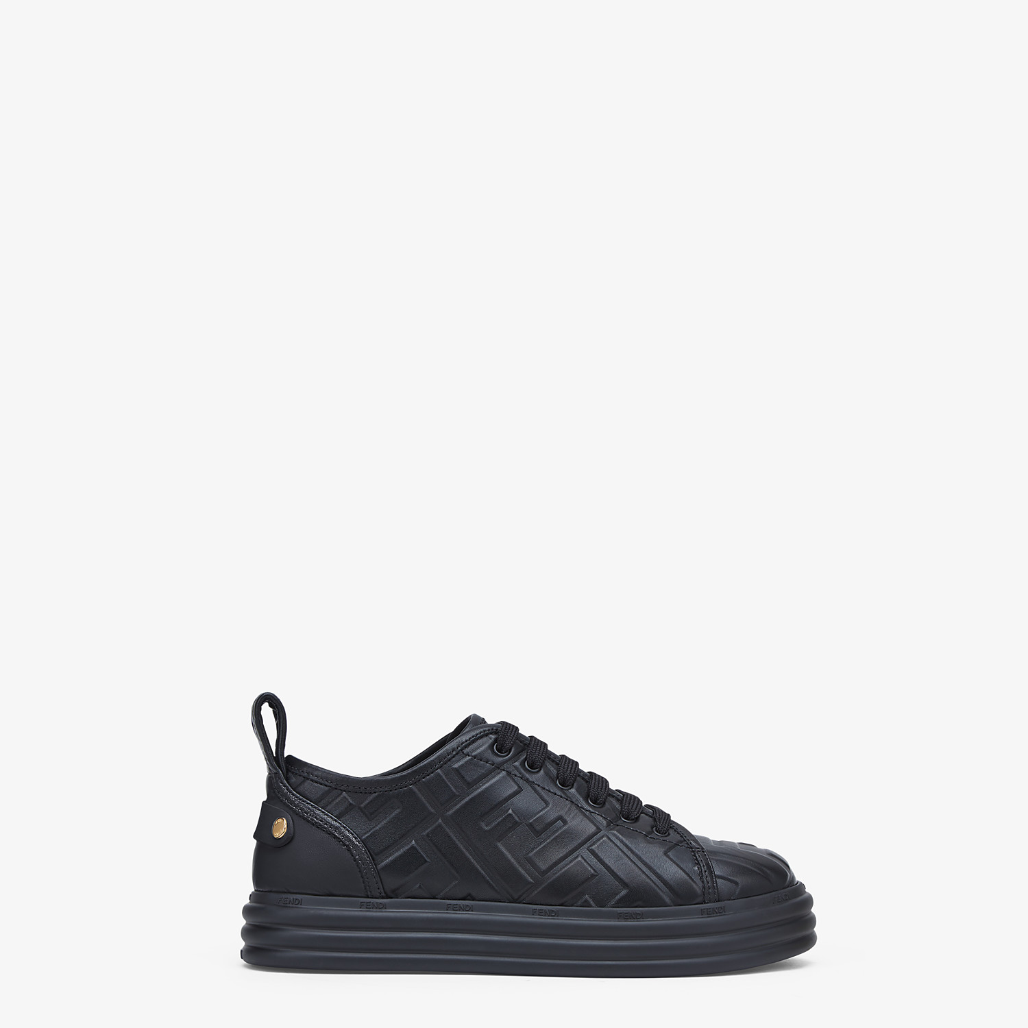 FENDI FENDI RISE - Black leather flatform sneakers - view 1 detail