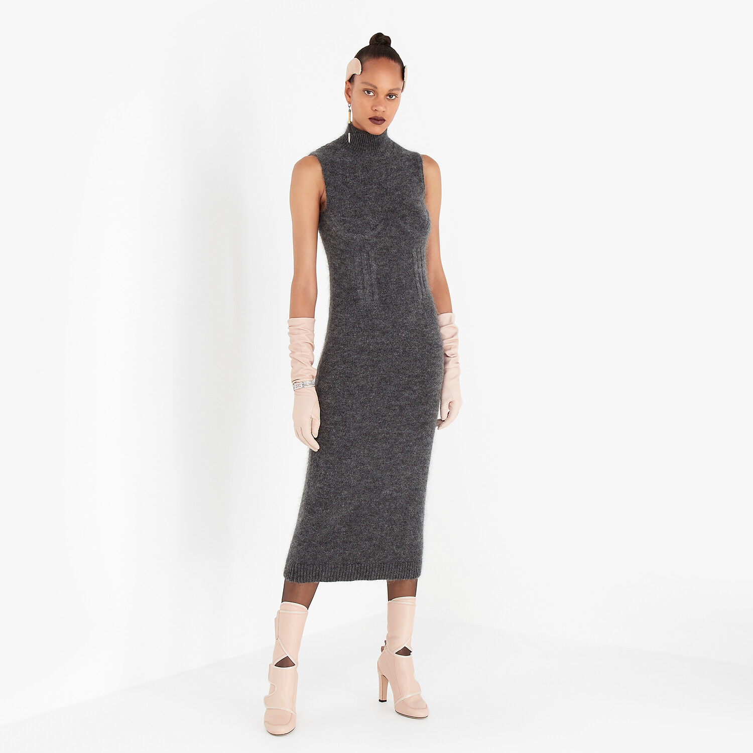 FENDI DRESS - Grey mohair and cashmere dress - view 4 detail