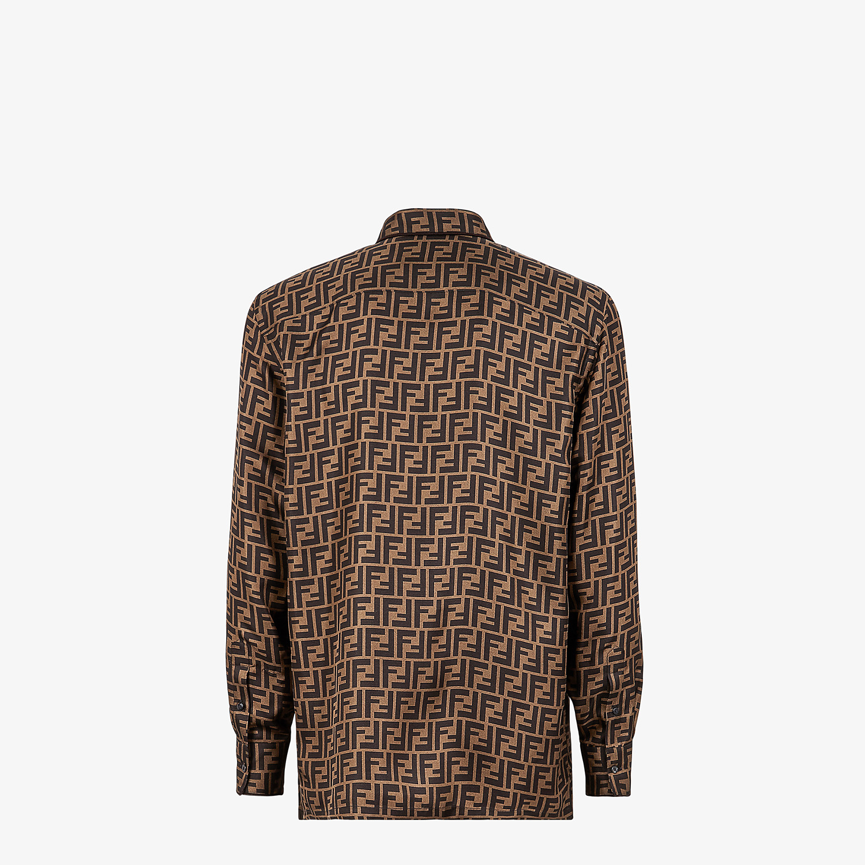 FENDI SHIRT - Brown silk shirt - view 2 detail
