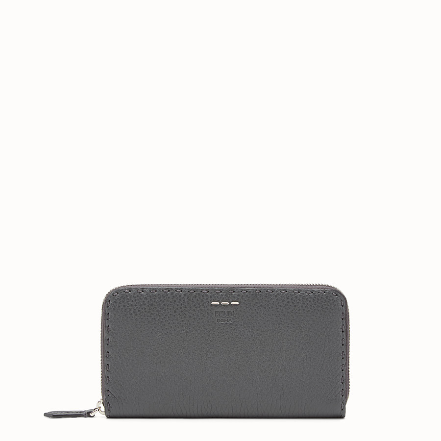 FENDI ZIP-AROUND - Slender wallet in grey Roman leather - view 1 detail