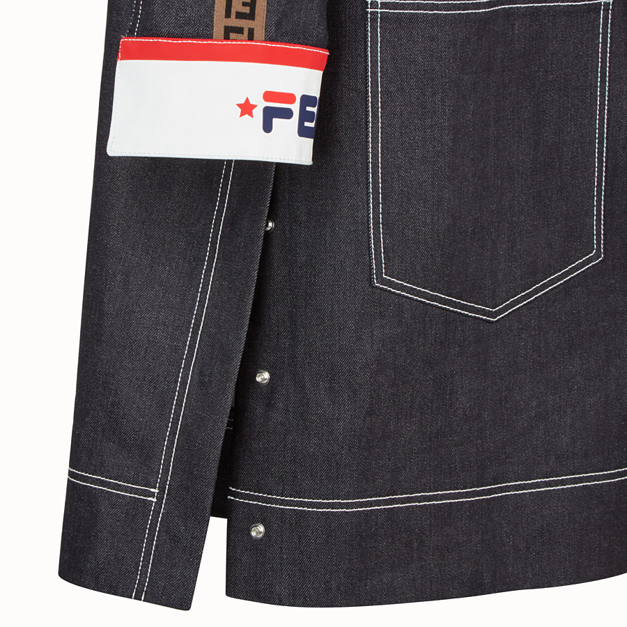 FENDI PARKA - Blue denim jacket - view 3 detail