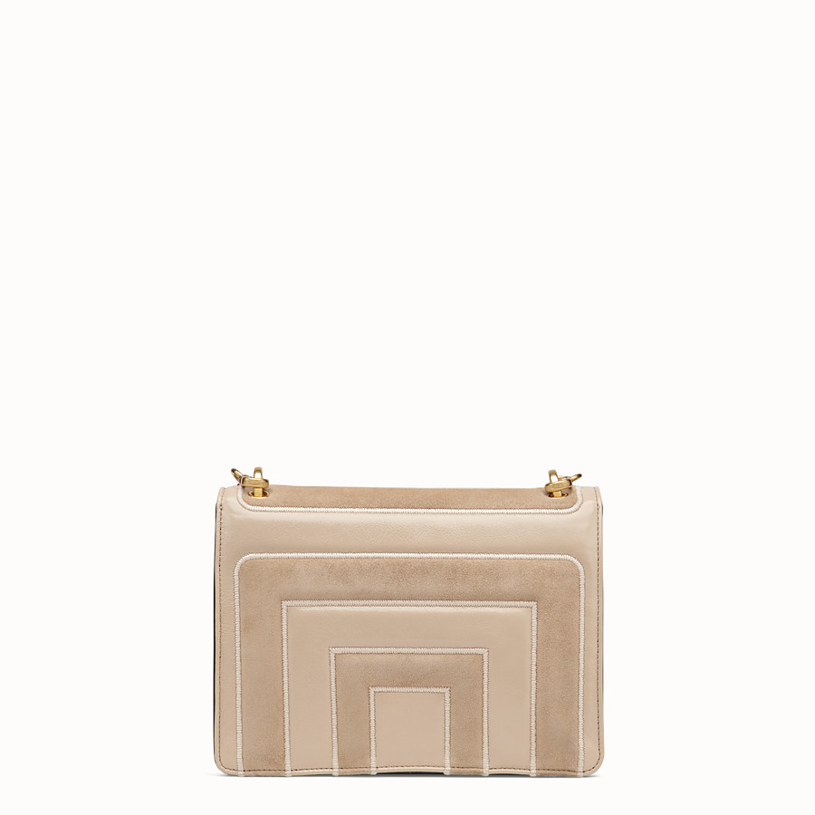 FENDI KAN U - Beige suede and leather bag - view 3 detail
