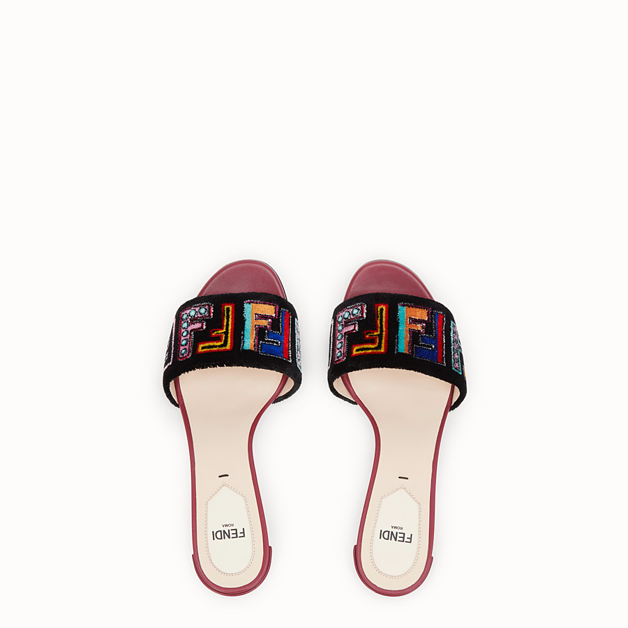 FENDI SANDALS - Multicolour leather and fabric sandals - view 4 detail