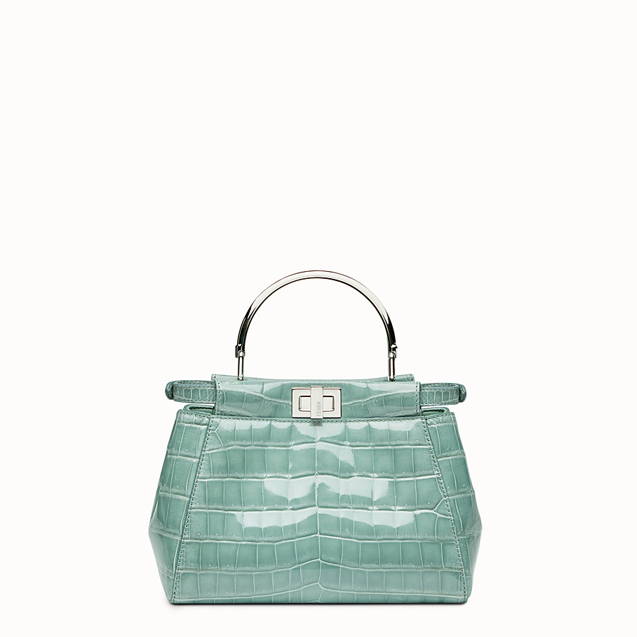 FENDI PEEKABOO MINI - Sac à main en cuir de crocodile vert menthe. - view 3 detail