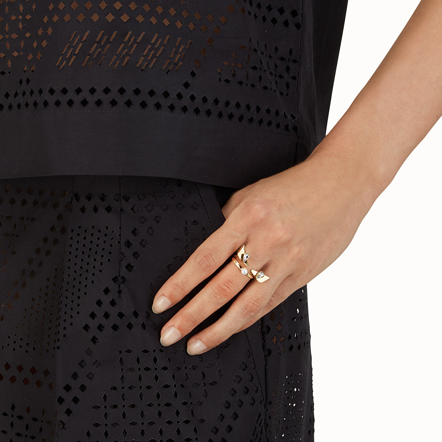 FENDI CRYSTAL WONDERS RING - in metal with rhinestones and pearl - view 2 detail