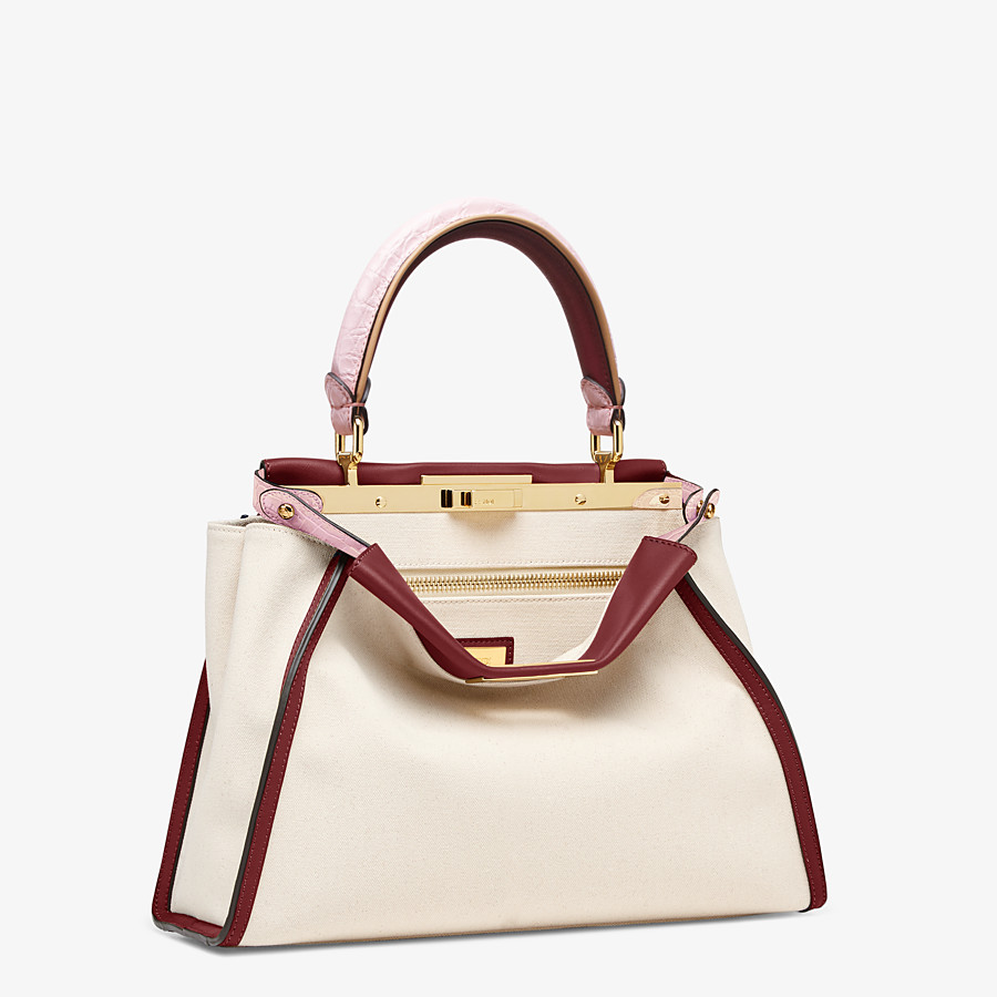 FENDI PEEKABOO ICONIC MEDIUM - White canvas bag with exotic details - view 3 detail