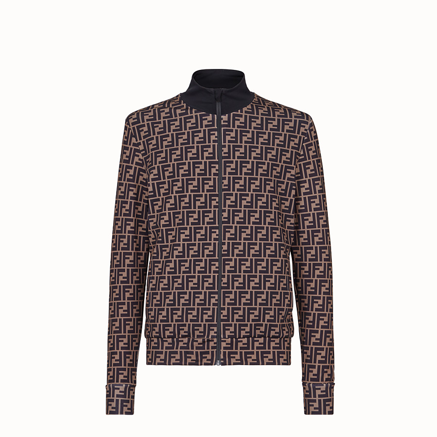 FENDI TECH FABRIC SWEATER - Brown fleece sweater - view 1 detail