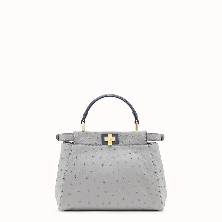 FENDI PEEKABOO MINI - White ostrich leather bag - view 3 detail