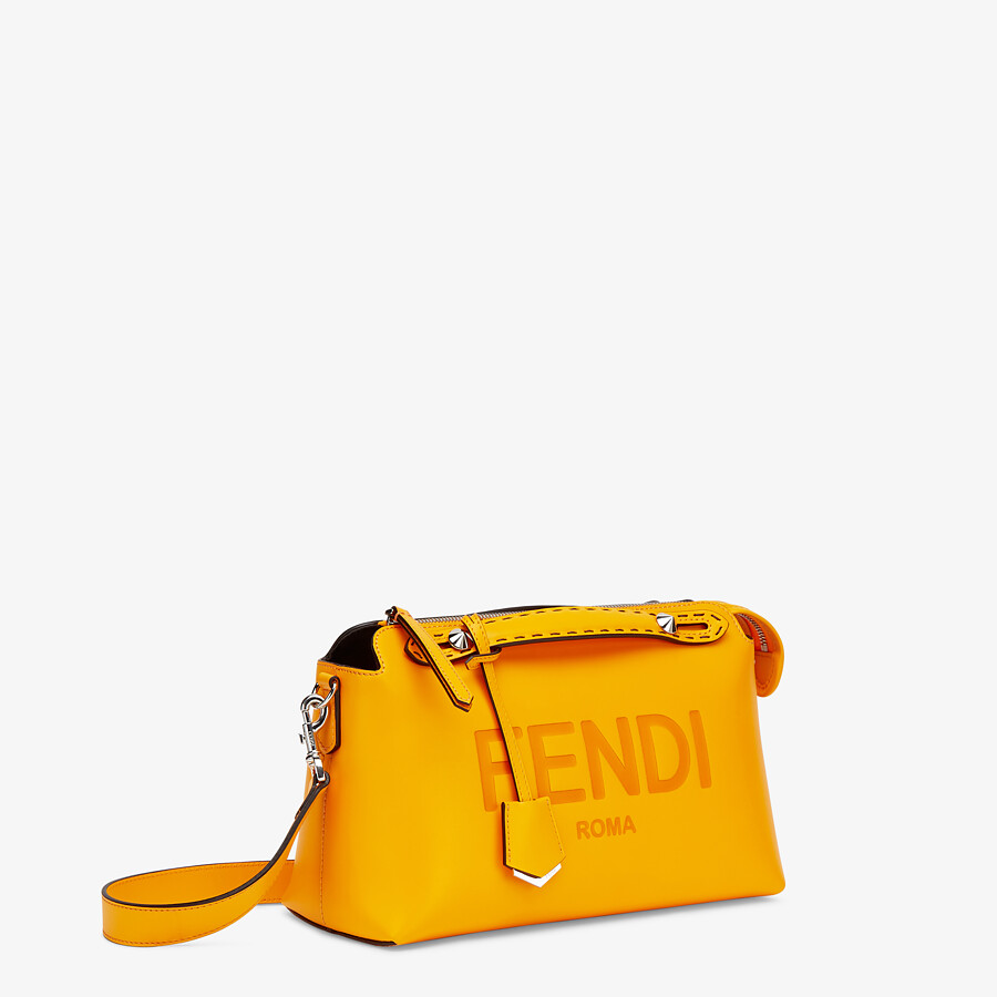 FENDI BY THE WAY MEDIUM - Orange leather Boston bag - view 3 detail