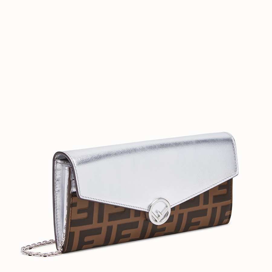 FENDI CONTINENTAL WITH CHAIN - Silver leather wallet - view 2 detail