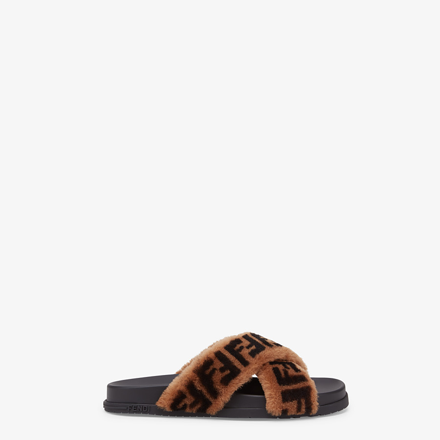 FENDI SLIDES - Brown sheepskin slides - view 1 detail