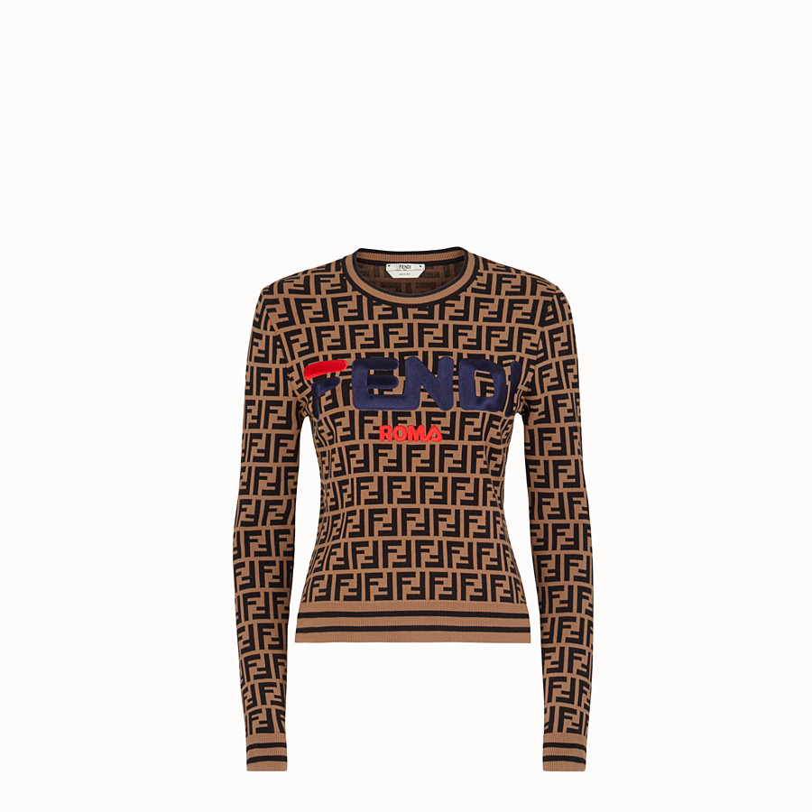 FENDI PULLOVER - Multicolour fabric jumper - view 1 detail
