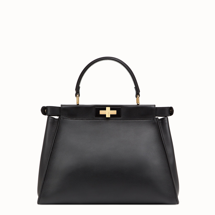 FENDI PEEKABOO REGULAR - Black leather bag - view 3 detail