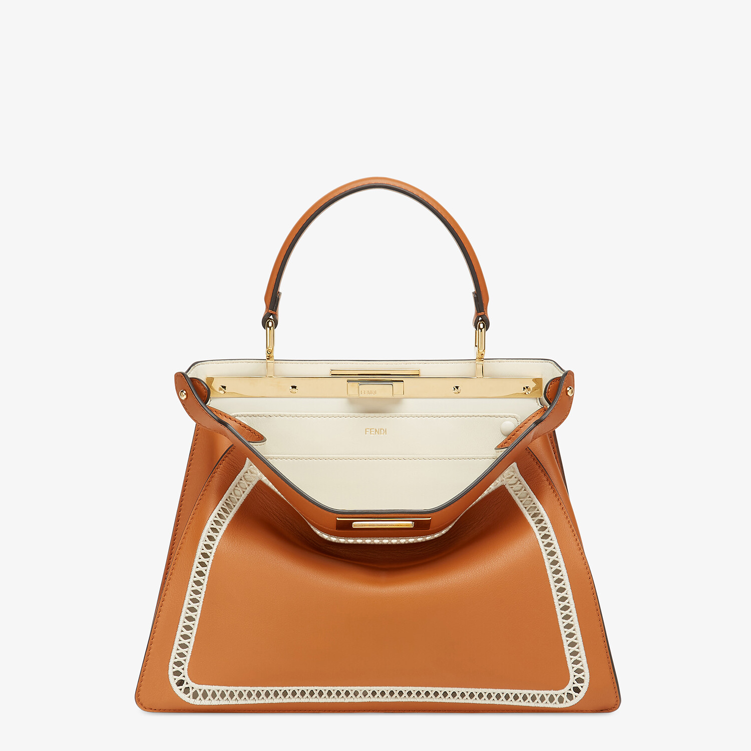 FENDI PEEKABOO ISEEU MEDIUM - Embroidered brown leather bag - view 1 detail