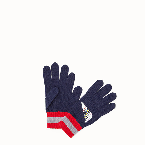FENDI GLOVES - Blue knit gloves - view 1 small thumbnail